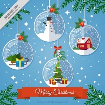 Fondo de navidad con bolas decorativas colgando