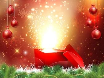 Fondo de navidad con caja de regalo y bolas de navidad