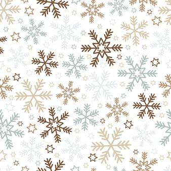 Fondo de navidad con copos de nieve y estrellas