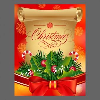 Fondo de navidad con lazo rojo y pergamino