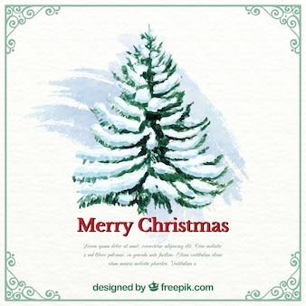 Fondo de navidad en acuarela con árbol y plantilla