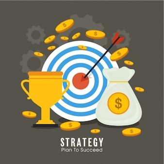 Fondo de negocios con diana y monedas