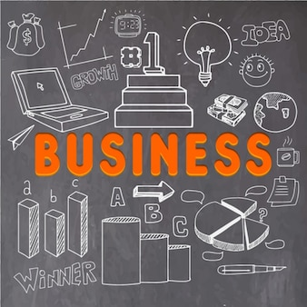 Fondo de negocios con objetos blancos dibujados a mano
