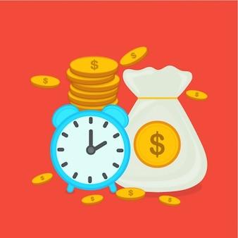 Fondo de negocios con reloj y monedas