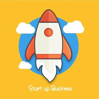 Fondo de negocios plano con cohete
