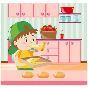 Fondo de niño comiendo pizza