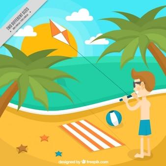 Fondo de niño divirtiéndose con un cometa en la playa