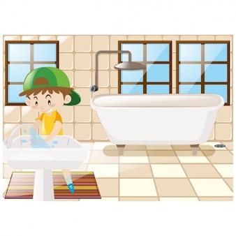 Fondo de niño en el baño