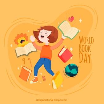 Fondo de niño feliz con libros