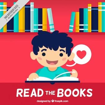 Fondo de niño feliz disfrutando con un libro