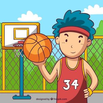 Fondo de niño jugando al baloncesto