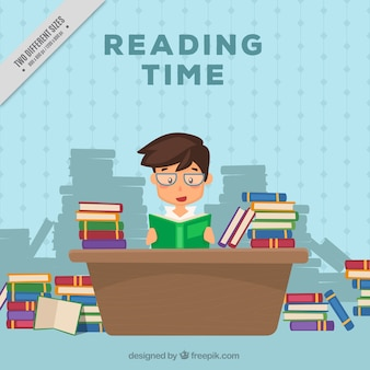 Fondo de niño leyendo libros en el escritorio