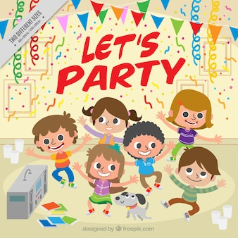 Fondo de niños bailando en una fiesta