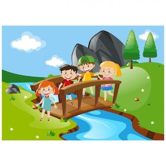Fondo de niños cruzando un puente