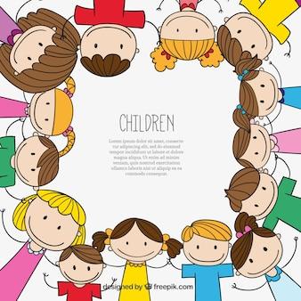 Fondo de niños dibujados a mano