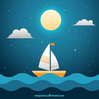 Fondo de noche con luna llena y barco en el mar
