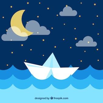 Fondo de noche con luna y barco de papel