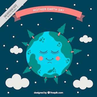 Fondo de noche con planeta tierra descansando