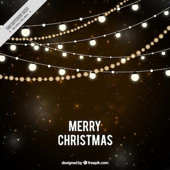 Fondo de noche estrellada con luces de navidad