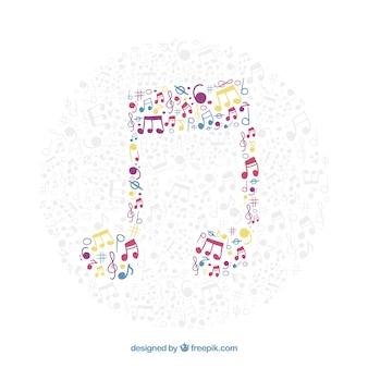 Fondo de nota musical hecha de notas musicales de colores