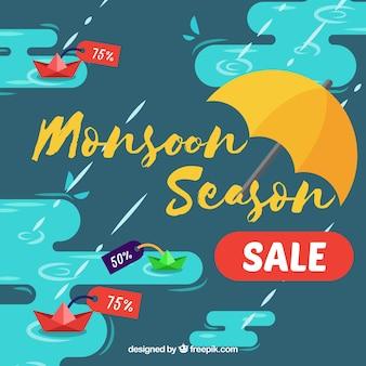Fondo de ofertas de monzón con charcos y paraguas