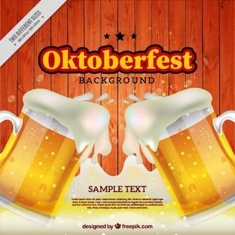 Fondo de oktoberfest con espumosas cervezas