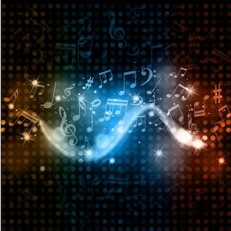Fondo de onda de notas musicales