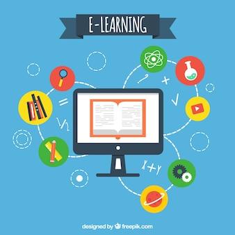 Fondo de ordenador con artículos de aprendizaje