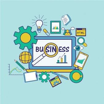 Fondo de ordenador con elementos de negocio en diseño plano