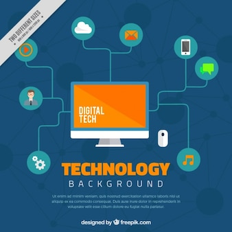 Fondo de ordenador e iconos digitales