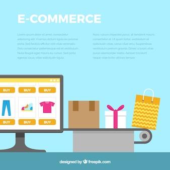 Fondo de ordenador y elementos de e commerce en diseño plano