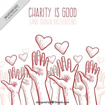 Fondo de organización benéfica con manos y corazones