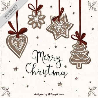 Fondo de ornamentos de navidad dibujados a mano