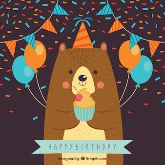 Fondo de oso celebrando un cumpleaños
