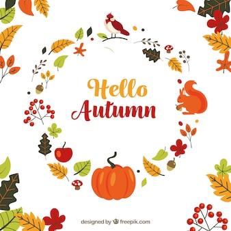 Fondo de otoño con composición de hojas
