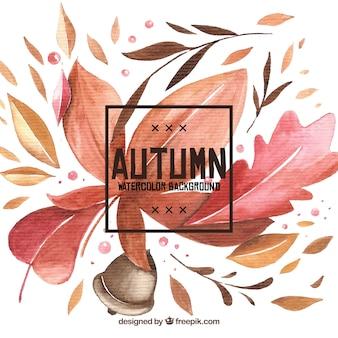 Fondo de otoño en acuarela con estilo colorido