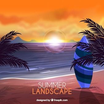 Fondo de paisaje bonito de playa con palmeras y tabla de surf