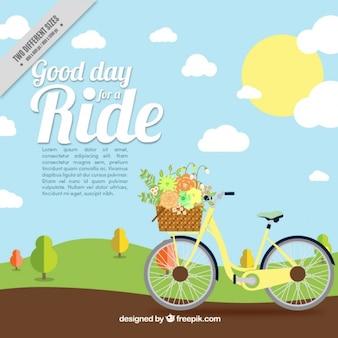 Fondo de paisaje con bicicleta vintage