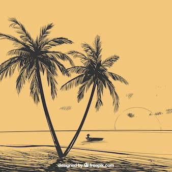 Fondo de paisaje con palmeras dibujadas a mano