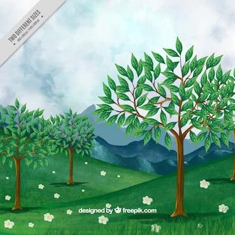 Fondo de paisaje de árboles y montañas