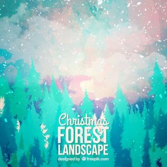 Fondo de paisaje de bosque navideño