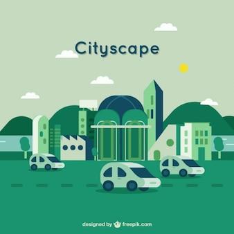 Fondo de paisaje de ciudad en color verde