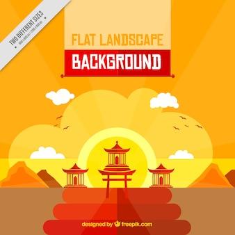 Fondo de paisaje de japón al atardecer en diseño plano