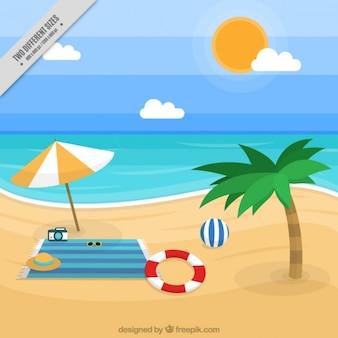 Fondo de paisaje de playa con accesorios
