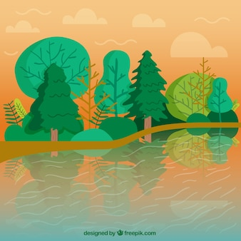 Fondo de paisaje de río con árboles verdes