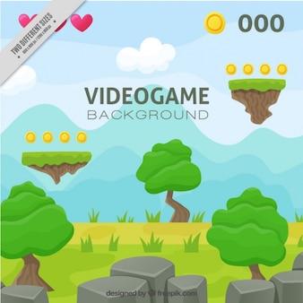 Fondo de paisaje de videojuego de plataforma