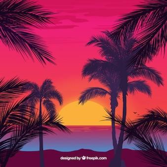 Fondo de paisaje idílico con palmeras