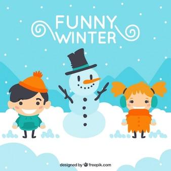 Fondo de paisaje invernal con niños y muñeco de nieve
