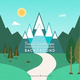 Fondo de paisaje montañoso con árboles y un camino