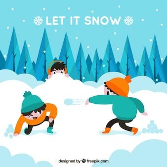 Fondo de paisaje nevado con niños divirtiéndose